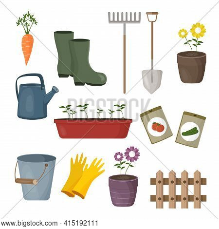 Set Of Different Gardening Items. Garden Tools And Plants. Flat Design Illustration Of Items For Gar