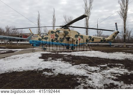 Russia, Engels - March,2021: Russia Air Force Air Force Attack Helicopter Mi 24 B.