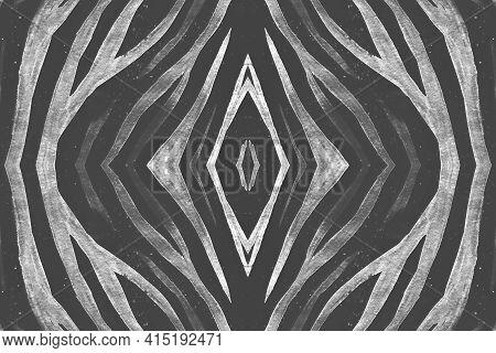 Seamless Zebra Pattern. Abstract Animal Design. Watercolour Jungle Skin. White Wildlife Background.