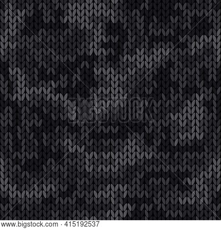 Knitted Camouflage Seamless Pattern. Woolen Black Knitted Texture. Vector Camo Background