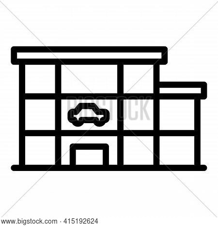 Car Showroom Icon. Outline Car Showroom Vector Icon For Web Design Isolated On White Background