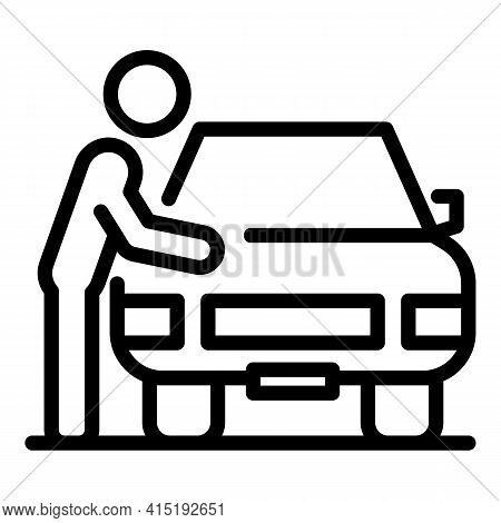 Car Owner Icon. Outline Car Owner Vector Icon For Web Design Isolated On White Background