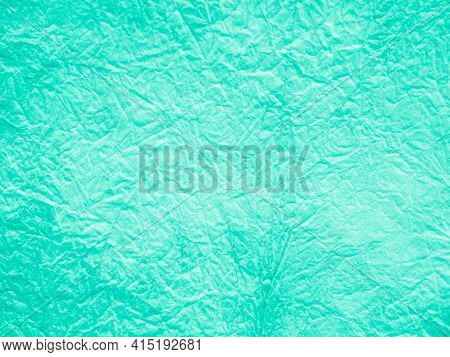 Aquamarine Batik Texture. Stains Watercolour. Handmade Wallpaper. Marine Crumpled Grunge Paper. Fres