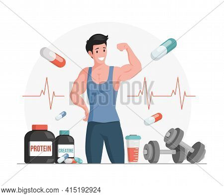 Athlete Showing Muscles Vector Cartoon Illustration. Bottles And Shaker With Protein And Creatine. S