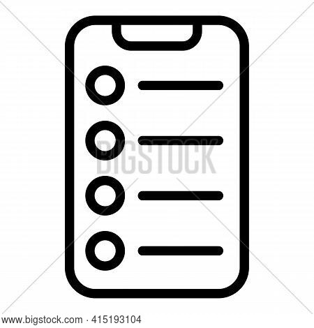 Smartphone Task Schedule Icon. Outline Smartphone Task Schedule Vector Icon For Web Design Isolated