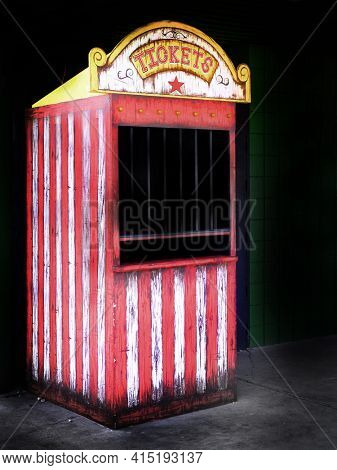 Old ticket booth at a carnival or circus selling ticket for rides and fun