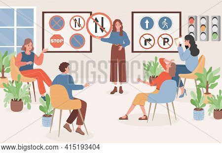 People Sit In Classroom, Learning Driving Theory, Road Signs, Traffic Rules Vector Flat Illustration