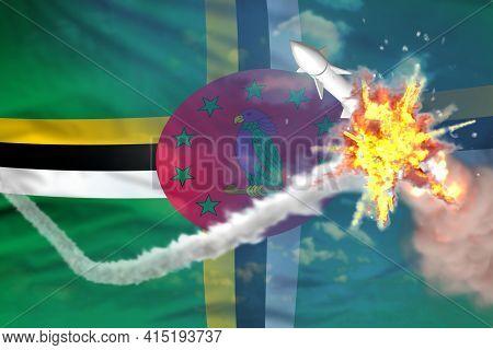 Dominica Intercepted Nuclear Missile, Modern Antirocket Destroys Enemy Missile Concept, Military Ind