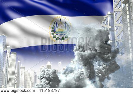 Huge Smoke Column In The Modern City - Concept Of Industrial Catastrophe Or Terroristic Act On El Sa