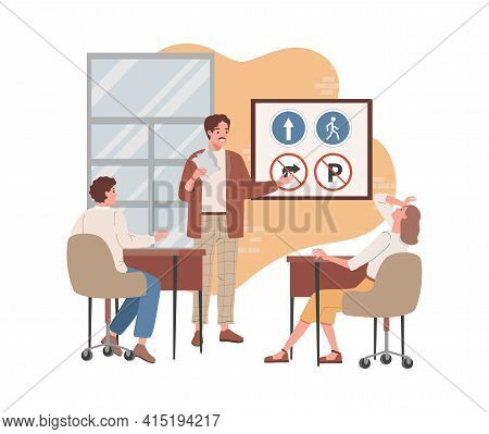 Man And Woman Sitting In Classroom, Learning Driving Theory, Road Signs, Traffic Rules Vector Flat I