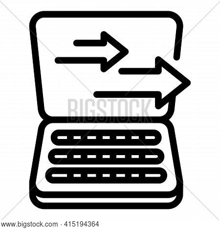 Laptop Backup Icon. Outline Laptop Backup Vector Icon For Web Design Isolated On White Background