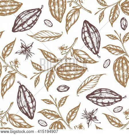 Vintage Hand Drawn Seamless Pattern With Cocoa Beans And Cocoa Plants On A White Background. Vector
