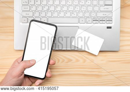 Online Paying Shopping, Electronic Payment With Mockup Credit Card, Mockup Cell Phone Mockup, Laptop