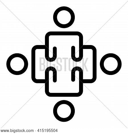 Organized Crew Icon. Outline Organized Crew Vector Icon For Web Design Isolated On White Background