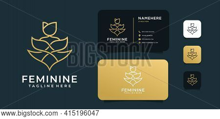 Flower Decoration Set Logo And Business Card Design Vector Template. Logo Can Be Used For Icon, Bran