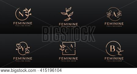 Luxury Feminine Wedding Branding, Corporate, Logo Set Collection. Logo Can Be Used For Icon, Brand,