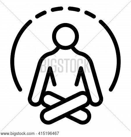 Human Meditation Icon. Outline Human Meditation Vector Icon For Web Design Isolated On White Backgro