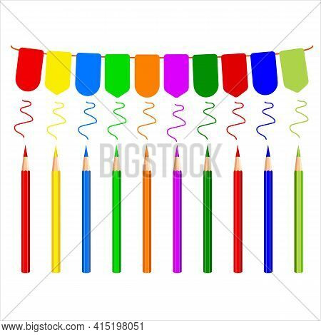 Carnival Colored Garland Decorated With Colored Pencils White Background. Multi-colored Pencils, Str