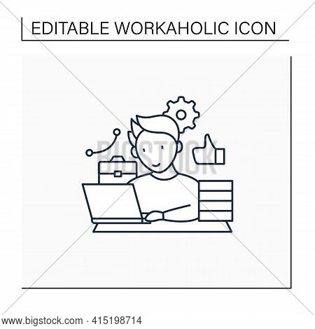 Workaholic Line Icon. Behavioral Causes. Man Works On Laptop. Hard Working. Satisfied From Work.over