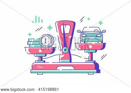 Auto And Amount Of Money Vector Illustration. Metal Scale With Automobile And Coins Flat Style. Comp
