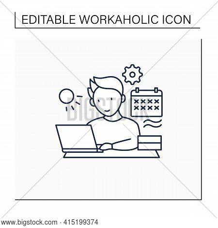 Workaholic Line Icon.work Through Vocation, Overtime. Work Despite Calendar Days Off. Man At Laptop.
