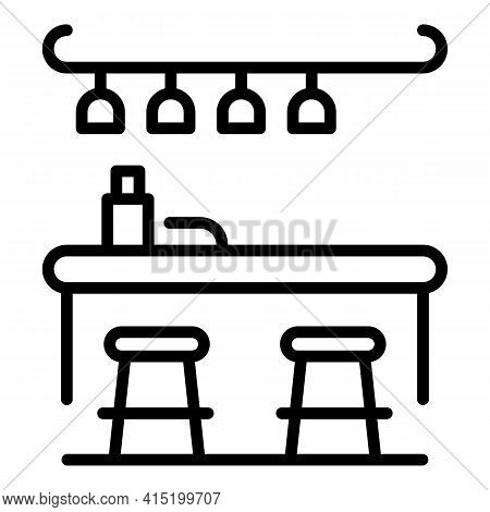 Cocktail Counter Icon. Outline Cocktail Counter Vector Icon For Web Design Isolated On White Backgro
