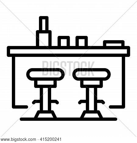 Home Bar Counter Icon. Outline Home Bar Counter Vector Icon For Web Design Isolated On White Backgro
