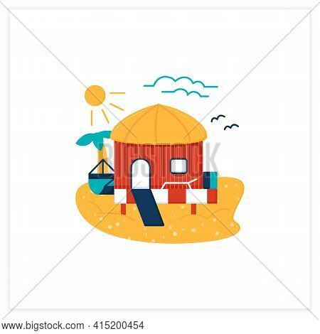 Beach Hut Flat Icon.tropical Comfortable Bungalow On Beach. Round Roof. Palms, Seascape. Relaxing Pl
