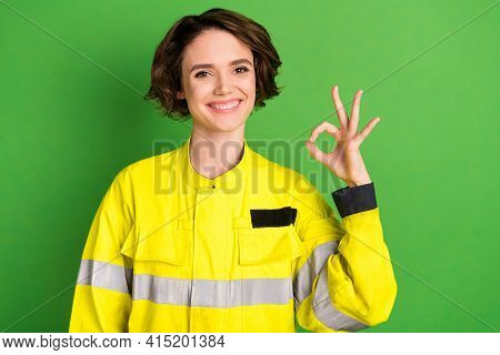 Photo Of Young Woman Firefighter Happy Positive Smile Show Okay Sign Alright Perfect Great Isolated