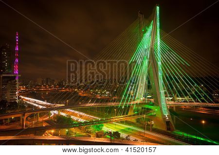Sao Paul City Bridge At Night