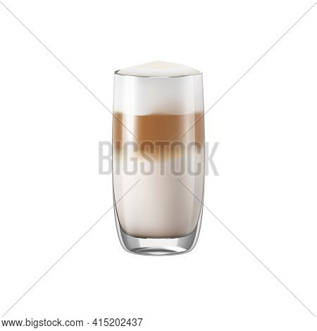 Coffee Drinks Realistic Composition With Transparent Glass With Coffee Vector Illustration