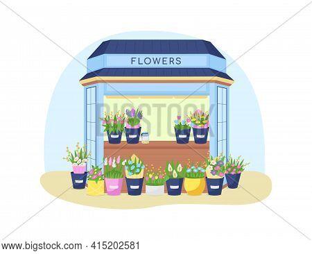 Flowers Kiosk 2d Vector Web Banner, Poster