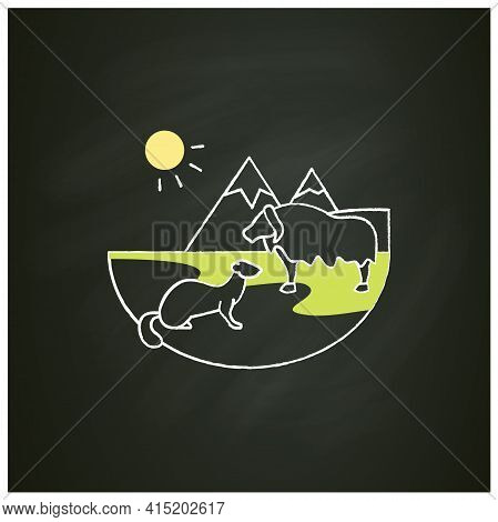 Tundra Chalk Icon. Cold And Treeless Plain. Hard For Plants And Animals Alike To Survive. Mountain L