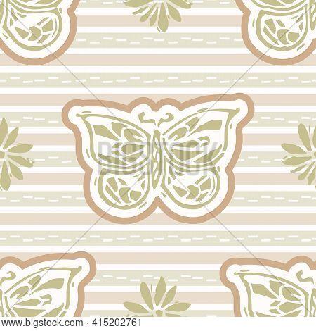 Seamless Minimalist Butterfly Blockprint Pattern Background. Calm Pale Tonal Pastel Color Wallpaper.
