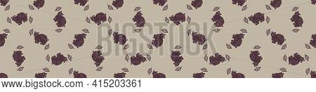 Hand Carved Bear Block Print Seamless Border Pattern. Rustic Naive Folk Motif Illustration Banner. M