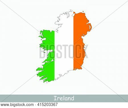 Ireland Map Flag. Map Of Ireland With The Irish National Flag Isolated On White Background. Vector I