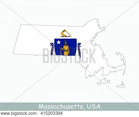 Massachusetts Map Flag. Map Of Ma, Usa With The State Flag Isolated On White Background. United Stat