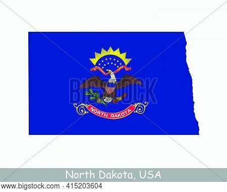 North Dakota Map Flag. Map Of Nd, Usa With The State Flag Isolated On White Background. United State