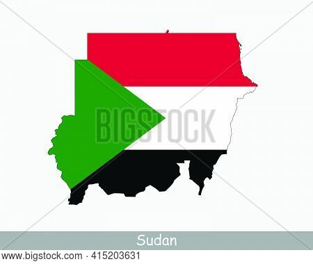Sudan Flag Map. Map Of The Republic Of The Sudan With The Sudanese National Flag Isolated On A White