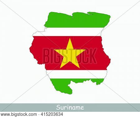 Suriname Flag Map. Map Of The Republic Of Suriname With The Surinamese National Flag Isolated On A W