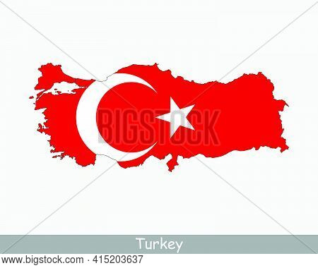 Turkey Flag Map. Map Of The Republic Of Turkey With The Turkish National Flag Isolated On A White Ba