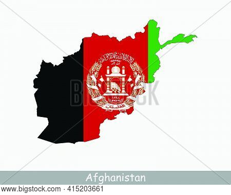 Afghanistan Map Flag. Map Of Afghanistan With The National Flag Of Afghanistan Isolated On White Bac