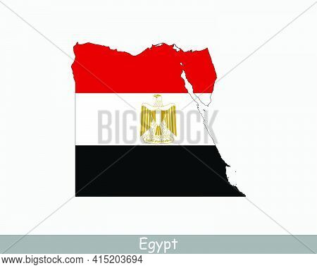 Egypt Map Flag. Map Of Egypt With The Egyptian National Flag Isolated On White Background. Vector Il