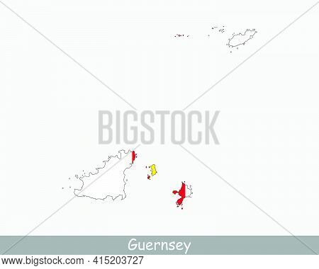 Guernsey Map Flag. Map Of Guernsey With Flag Isolated On White Background. Jurisdiction Of The Baili