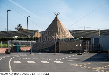 Amble, Northumberland, Uk - March 21, 2021: Covid 19 Testing And Vaccination Centre. Temporary Tent