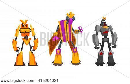 Robot Transformers Set, Powerful Robots, Fantasy Cyborg Soldier Or Superheroes Cartoon Vector Illust