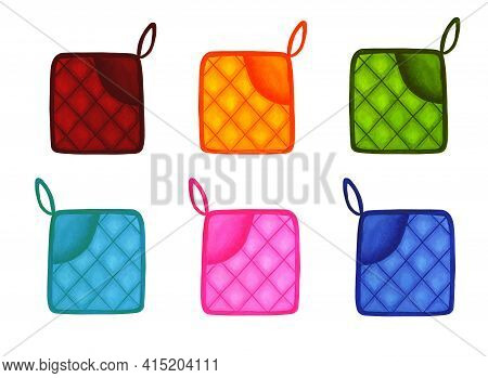 Colored Oven Mitts Isolated On White Background. Set. Hand-drawn Rectangular Potholders. Watercolor