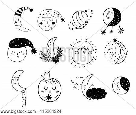 Baby Moon Clipart. Kids Moon Set Cute Characters. Sleepy Moon Elements. Sleeping Moon Face. Doodle I