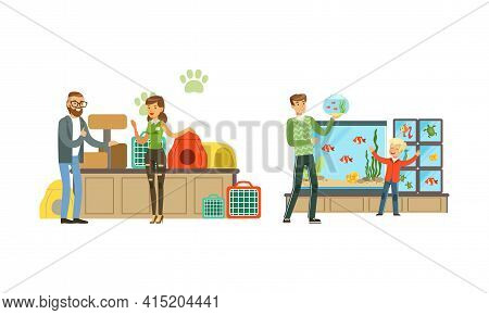 People Shopping In Pet Shop Set, Visitors Buying Animals, Food, Accessories And Medicaments For Thei