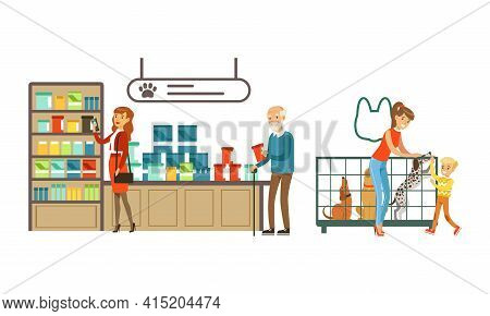 Visitors Shopping In Pet Shop Set, People Buying Food, Accessories And Medicaments For Their Pets Ve